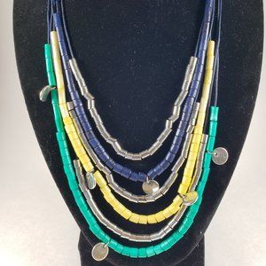 Multi strand Silver Green Yellow beaded necklace